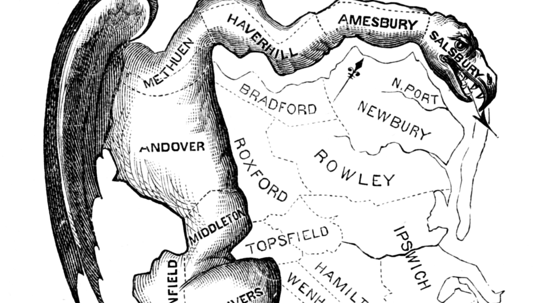A map of the first-ever gerrymandered political districts in the county of Essex, England.