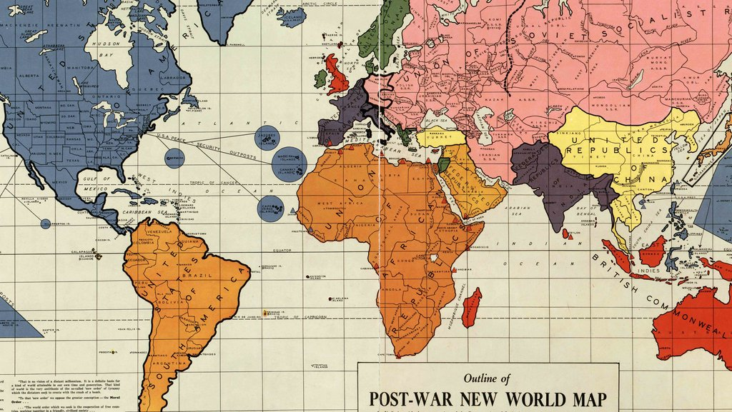 A 1942 map of the new world order big think published in philadelphia in early 1942 this outline of the post war new world map created by maurice gomberg shows a proposal to re arrange the gumiabroncs Gallery