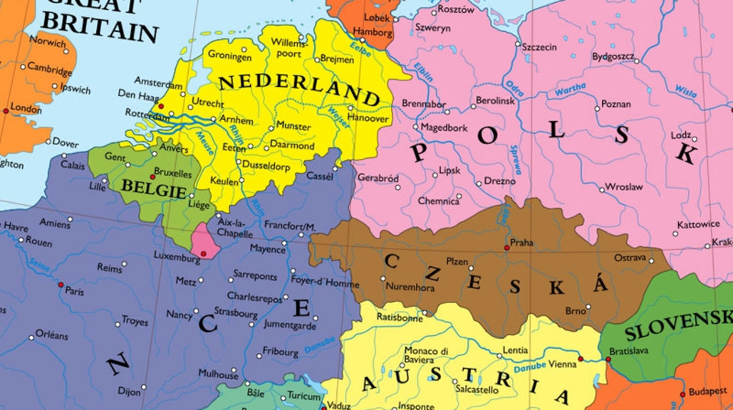 The Netherlands Big Enough Not To Have To Worry About The Sea. A  French Polish Border. Imagine Europe Without Germany. This Map Does.