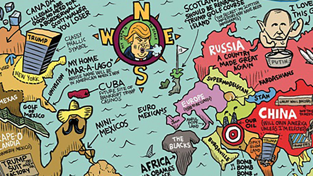 How donald trump sees the world in 3 maps big think i know the outer world exists from any other presidential candidate that most basic of foreign policy affirmations would sound merely comical gumiabroncs Choice Image