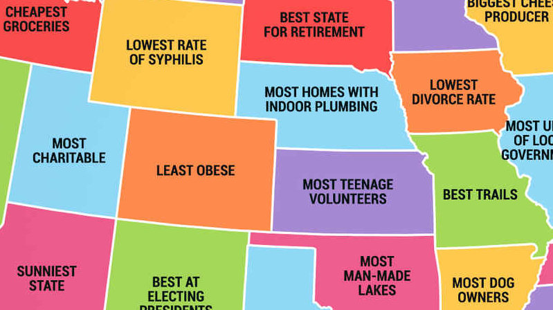 Four maps show 50 states and European countries best and worst qualities
