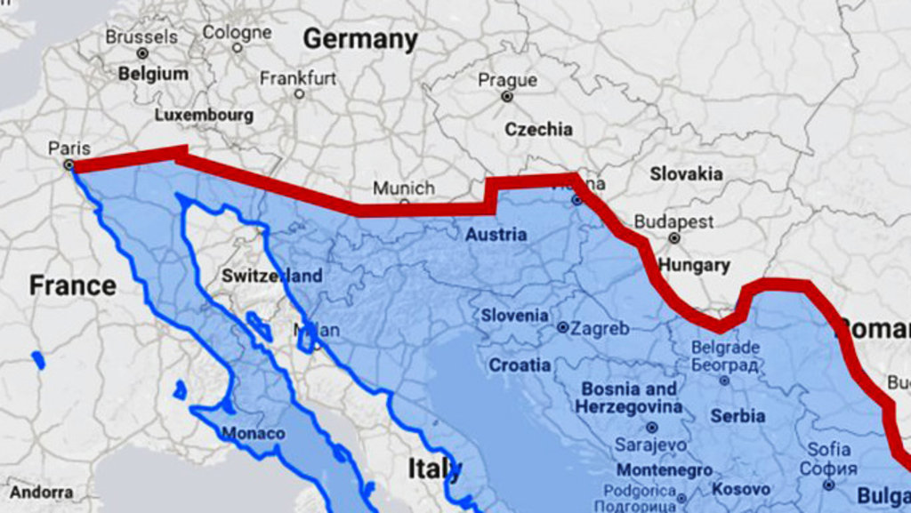 Us mexico border wall would divide europe in half big think us border wall with mexico overlaid on a map of europe reddit gumiabroncs Gallery