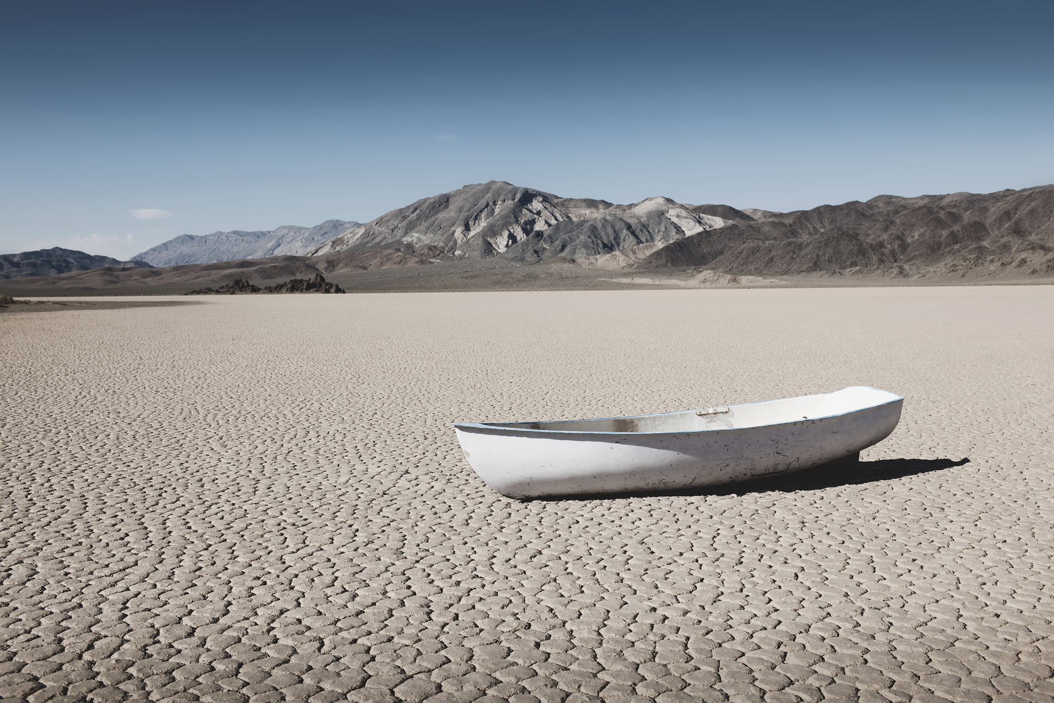 Boat in desert field