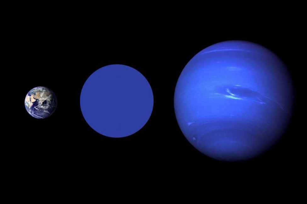 Size comparison: Earth, Wolf 503b, and Neptune. The color blue represented for Wolf 503b is imaginary; nothing is yet known about the atmosphere and surface of the planet. Credit: NASA Goddard/Robert Simmon (Earth), NASA / JPL (Neptune).