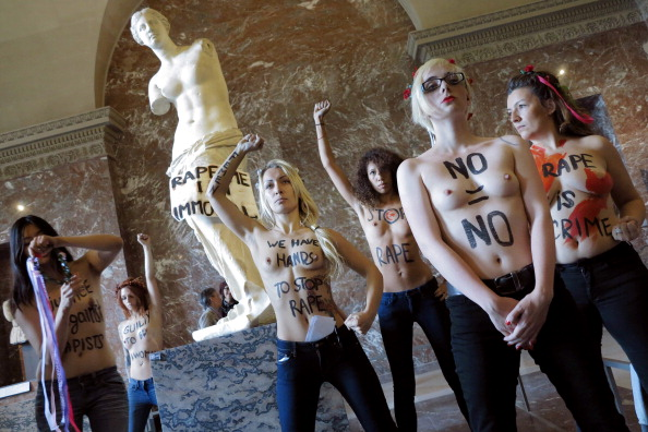 topless Ukrainian women protest