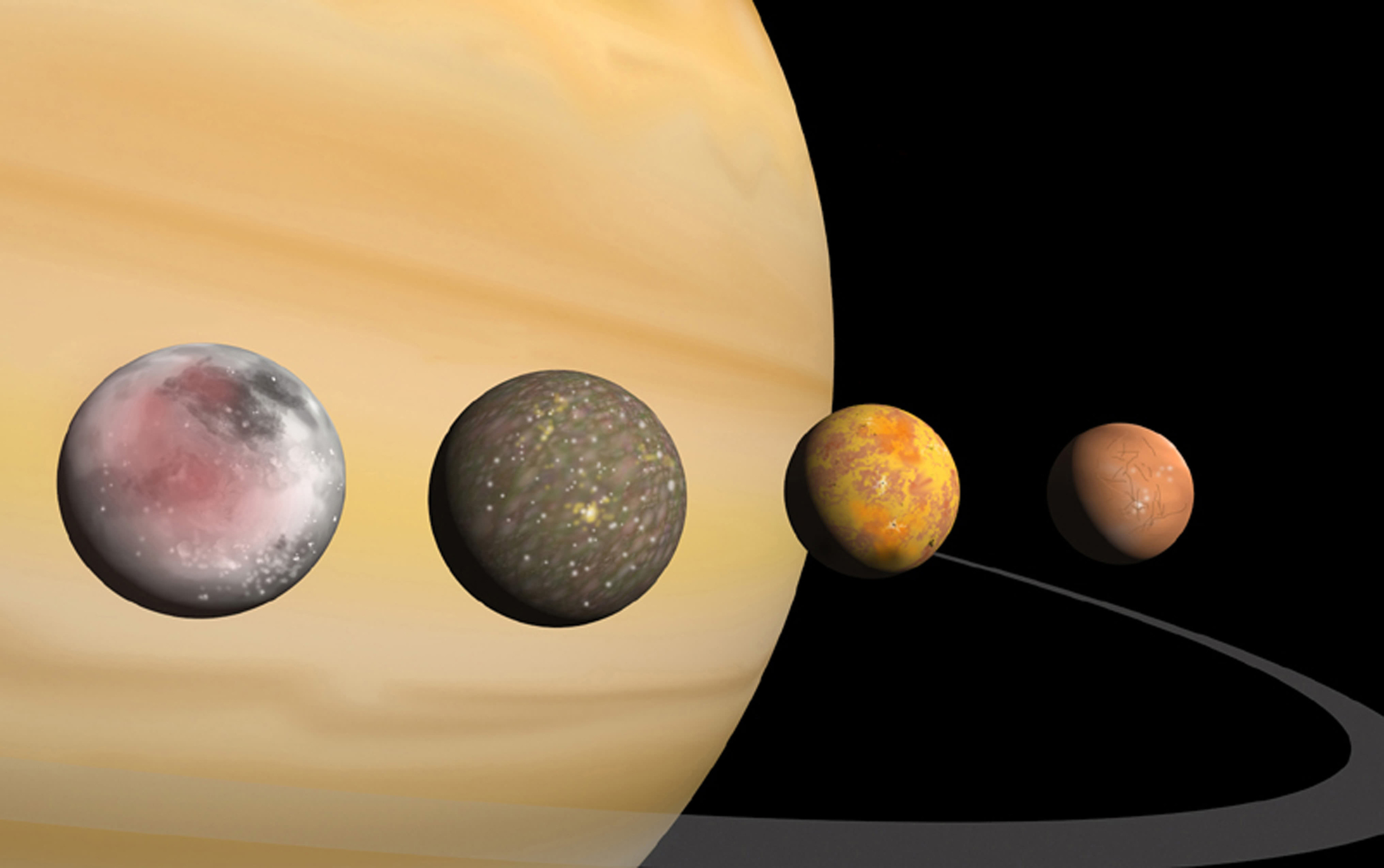 Jupiters four largest moons (left to right): Ganymede, Callisto, Io and Europa.