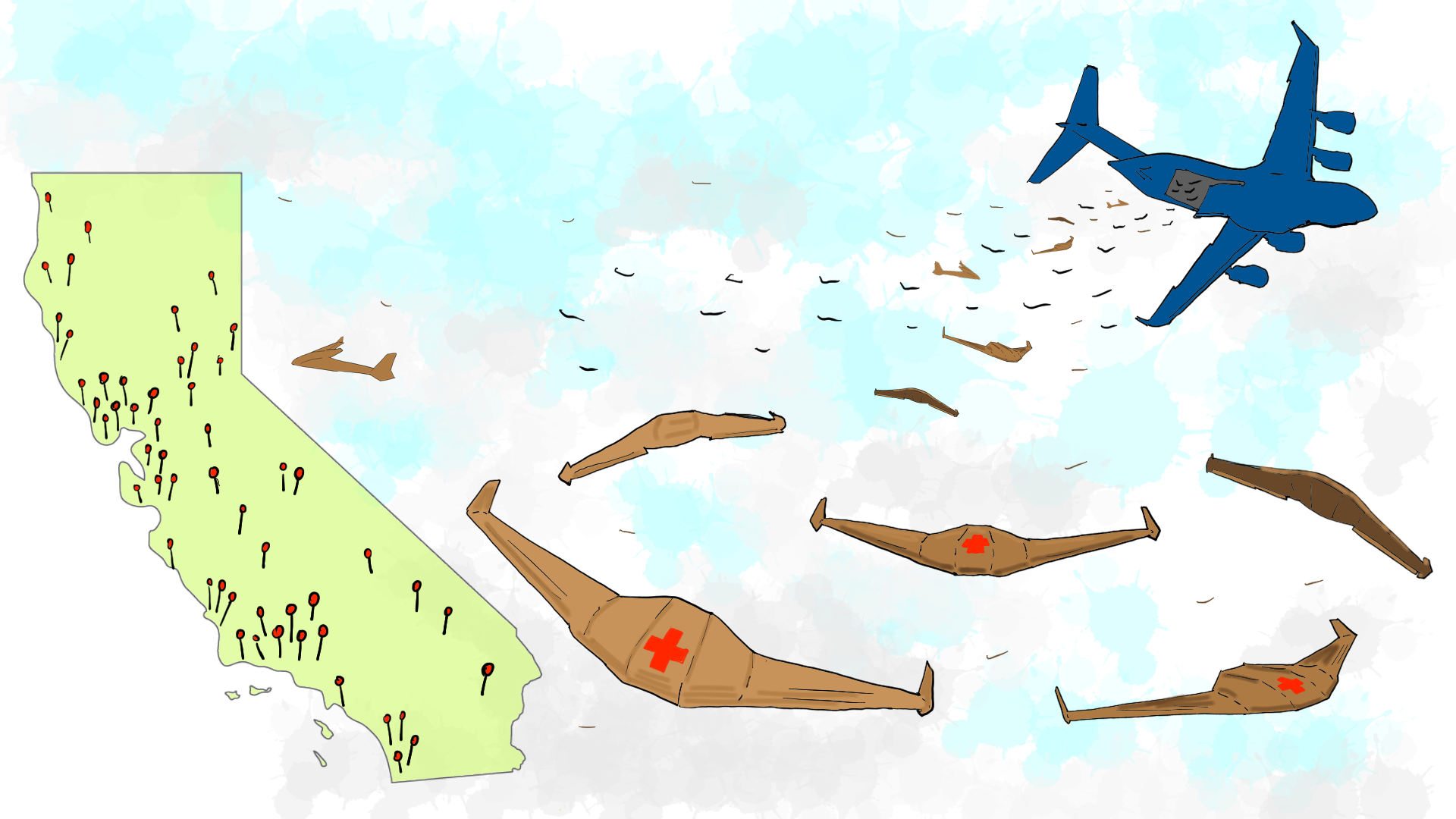 A drawing of gliders launched from a plane