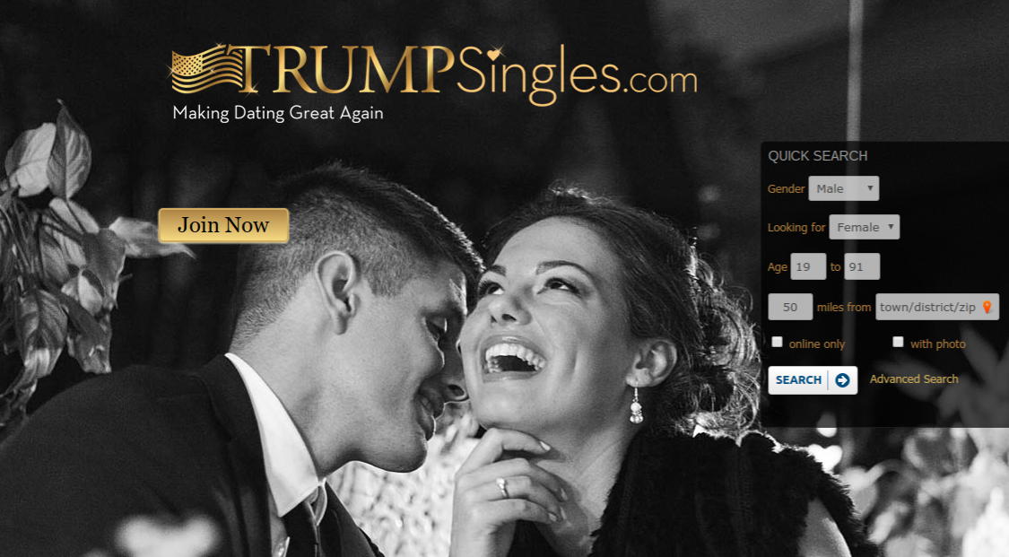 Screenshot from TrumpSingles.com, taken on Feb 11, 2017