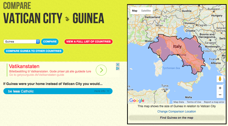 Compare your good fortune to that of people in other countries big one of the easter eggs pops up if you try to skew the stats by selecting the vatican as your home country select any other country to compare it with gumiabroncs Image collections