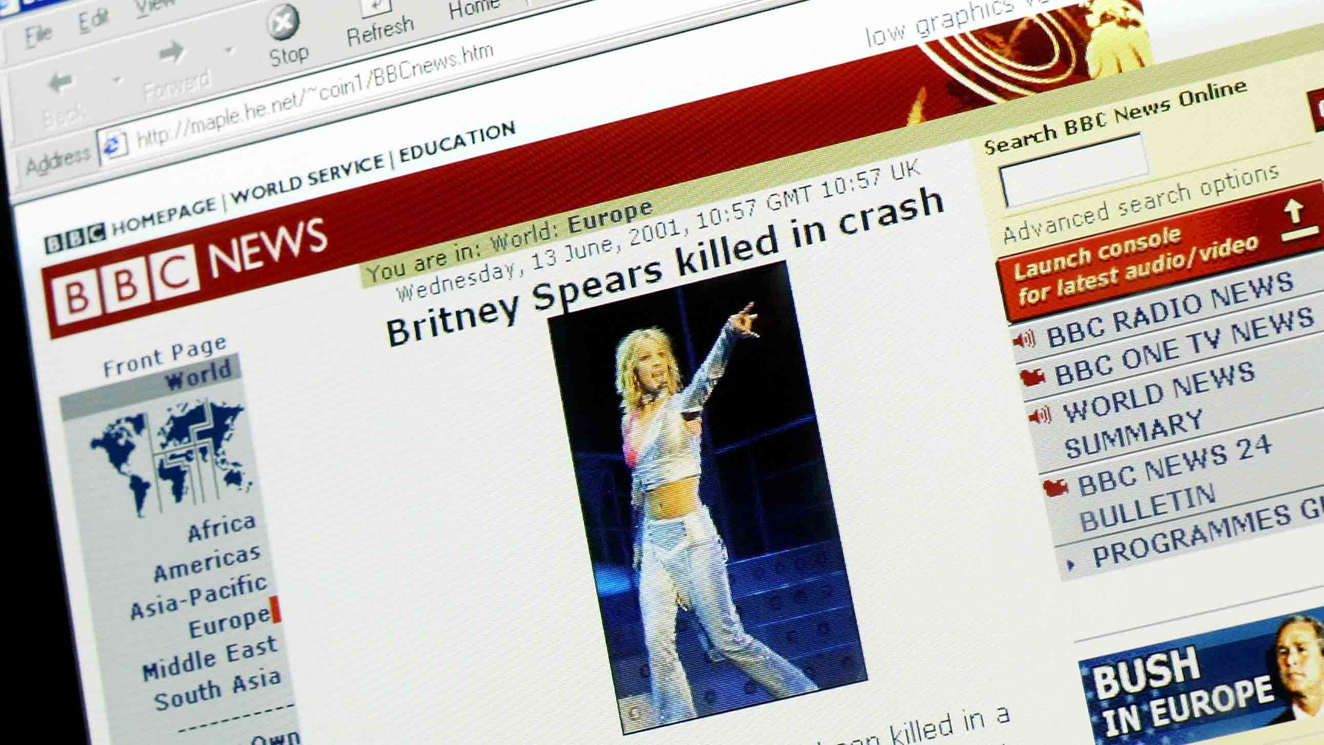 A website falsely reports the death of pop singer Britney Spears June 13, 2001 in London, England.