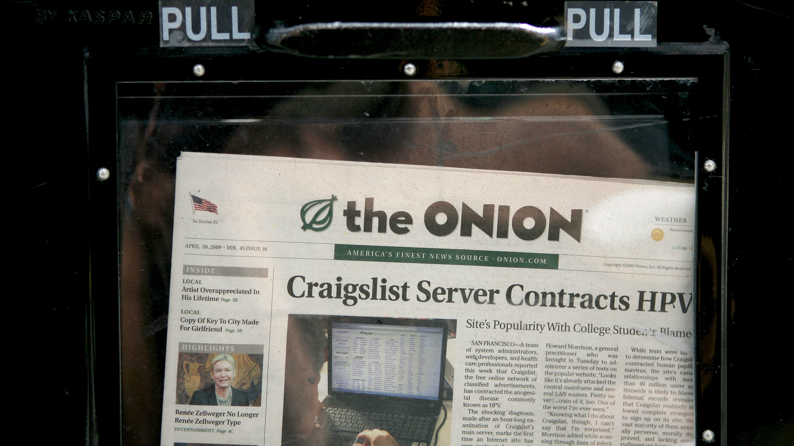 Onion newspaper in stand