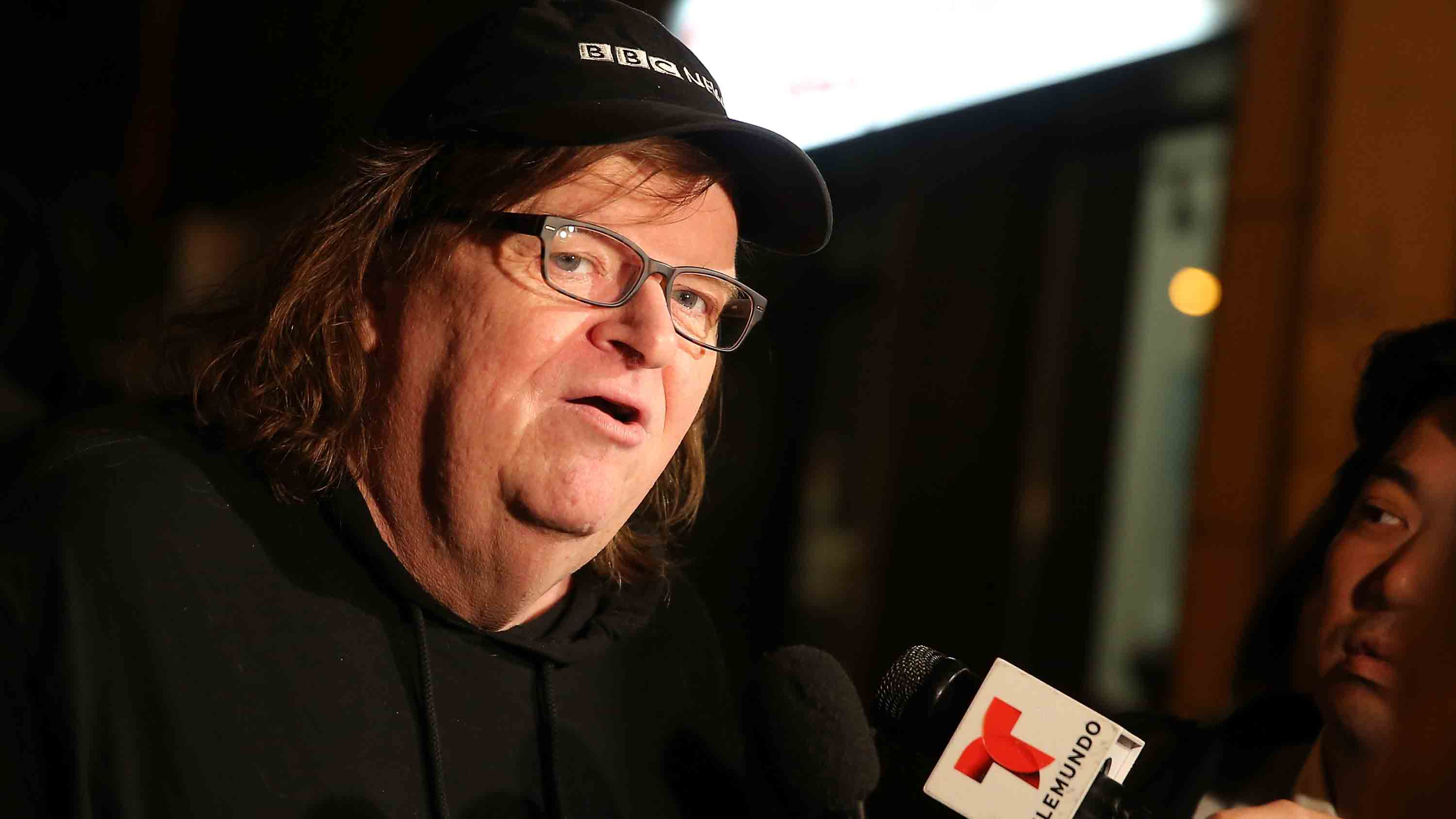 Director Michael Moore speaks to the media at the premiere of his documentary 'Michael Moore In TrumpLand' at the IFC Center on October 18, 2016 in New York City.