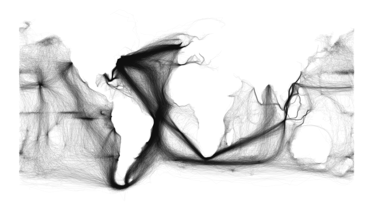 A Digital Map Of Ocean Traffic Mined From Centuriesold Ships - Old us map background
