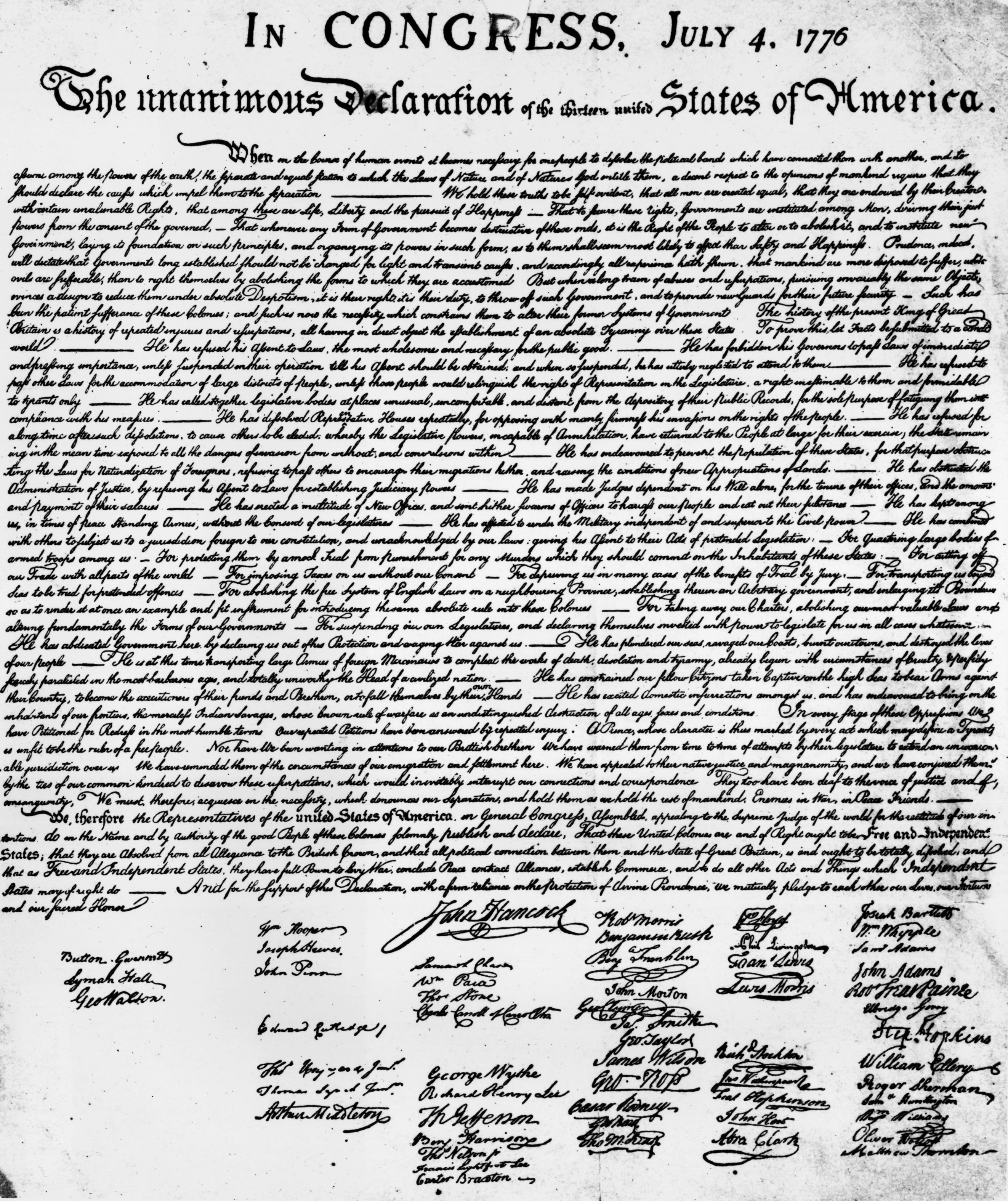 the signatures on the Declaration of Independence