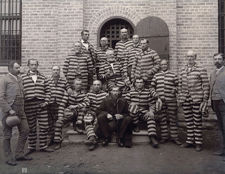 Portrait of Mormon polygamists in prison, at the Utah Penitentiary, including: