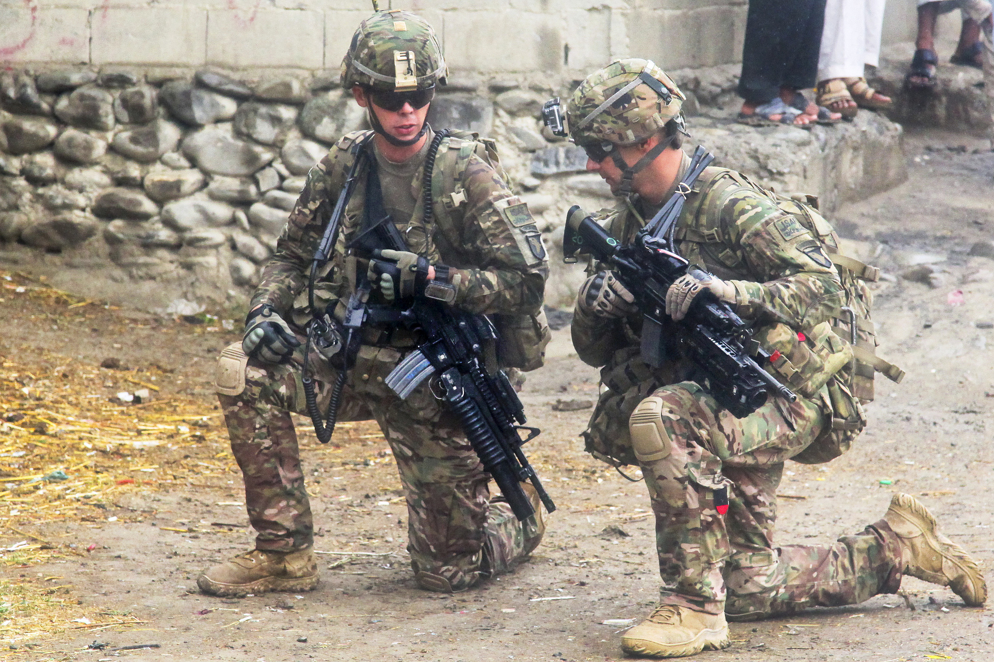 U.S. Army Soldiers with 2nd Battalion, 506th Infantry Regiment, 4th Brigade Combat Team, 101st Airborne Division, provide security in the village of Kajir Kheyl in Khowst province, Afghanistan, June 12, 2013. U.S. Army photo by Spc. Robert Porter