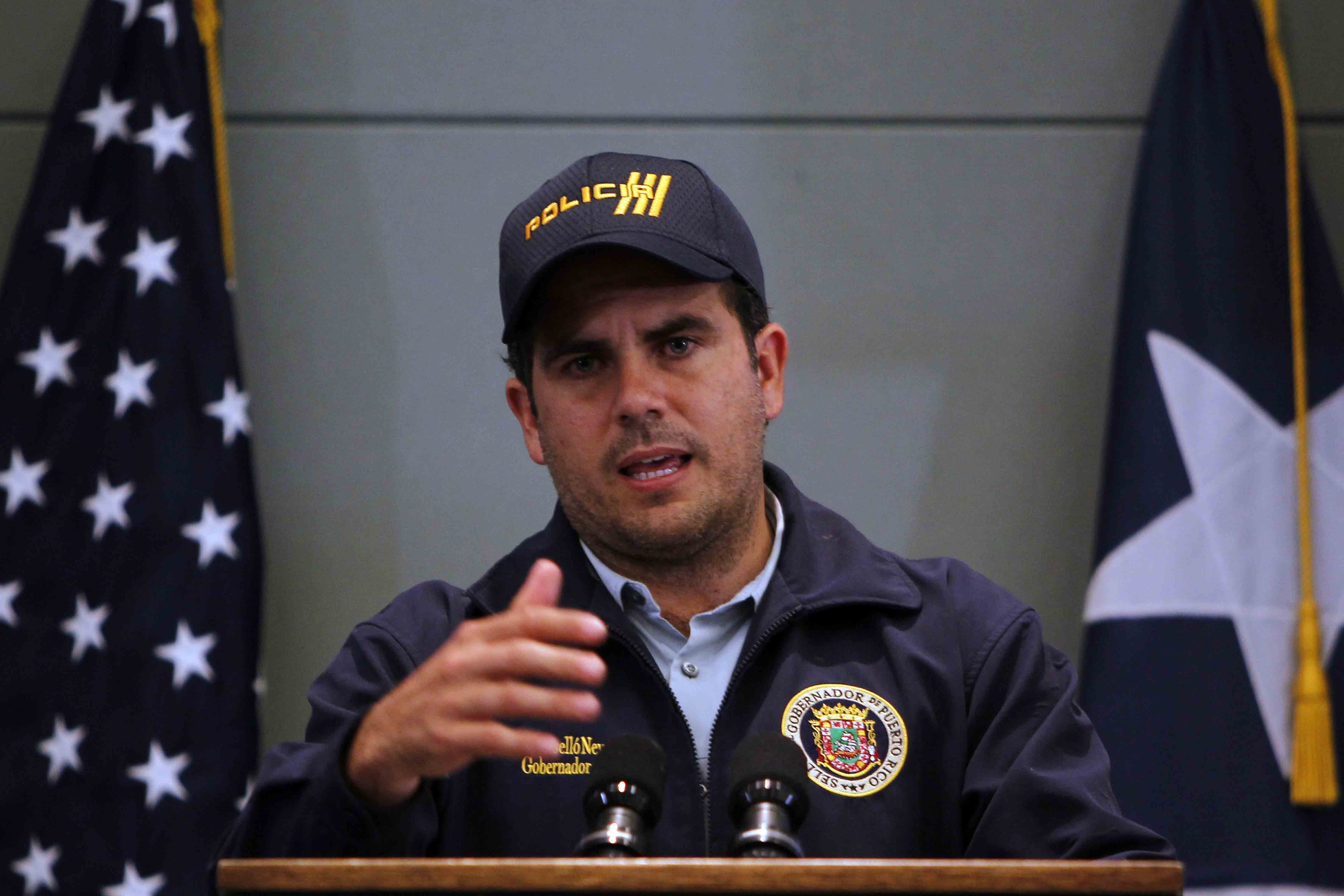 Puerto Rico's Governor Ricardo Rossello speaks to the media during a press conference in San Juan, Puerto Rico, on September 24, 2017.