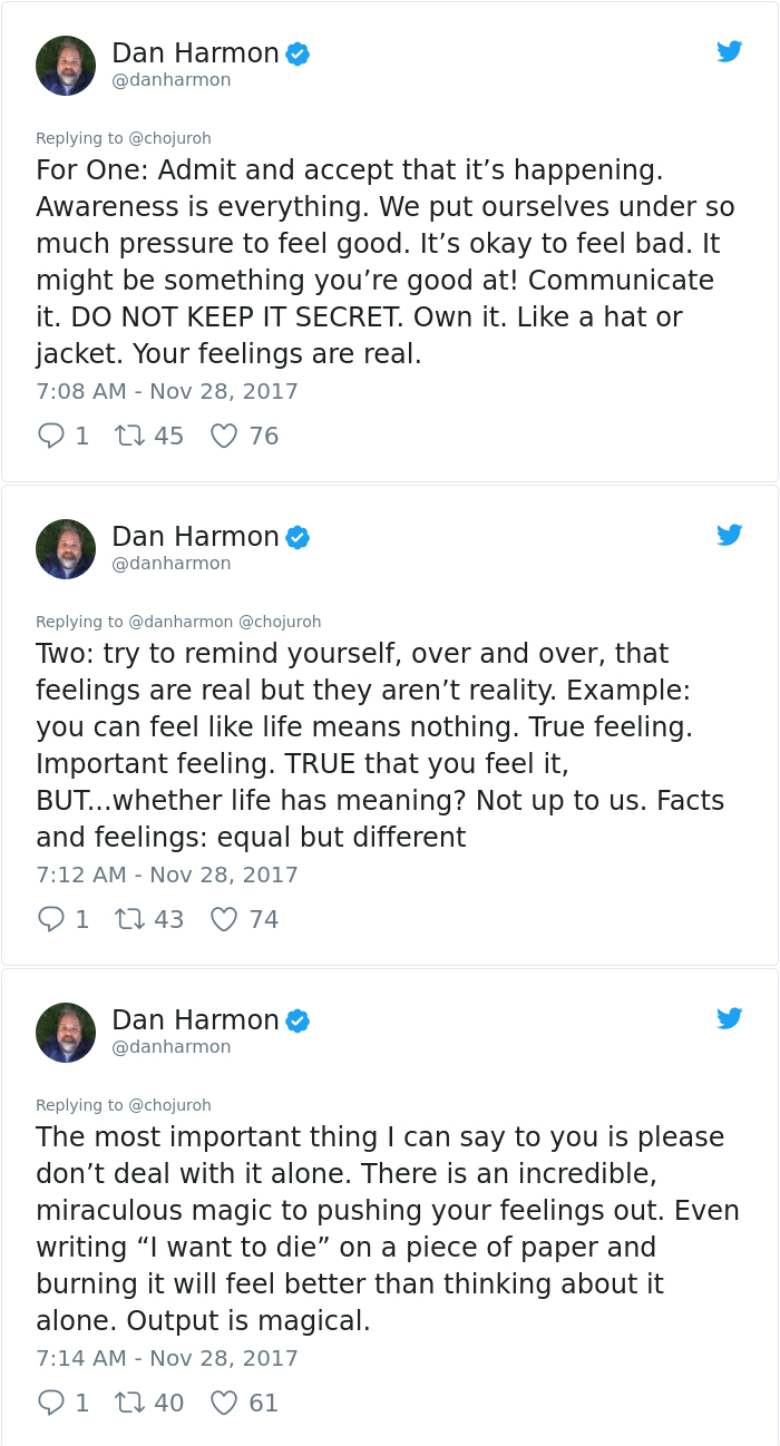 Dan Harmon Depression Advice to Fan on Twitter