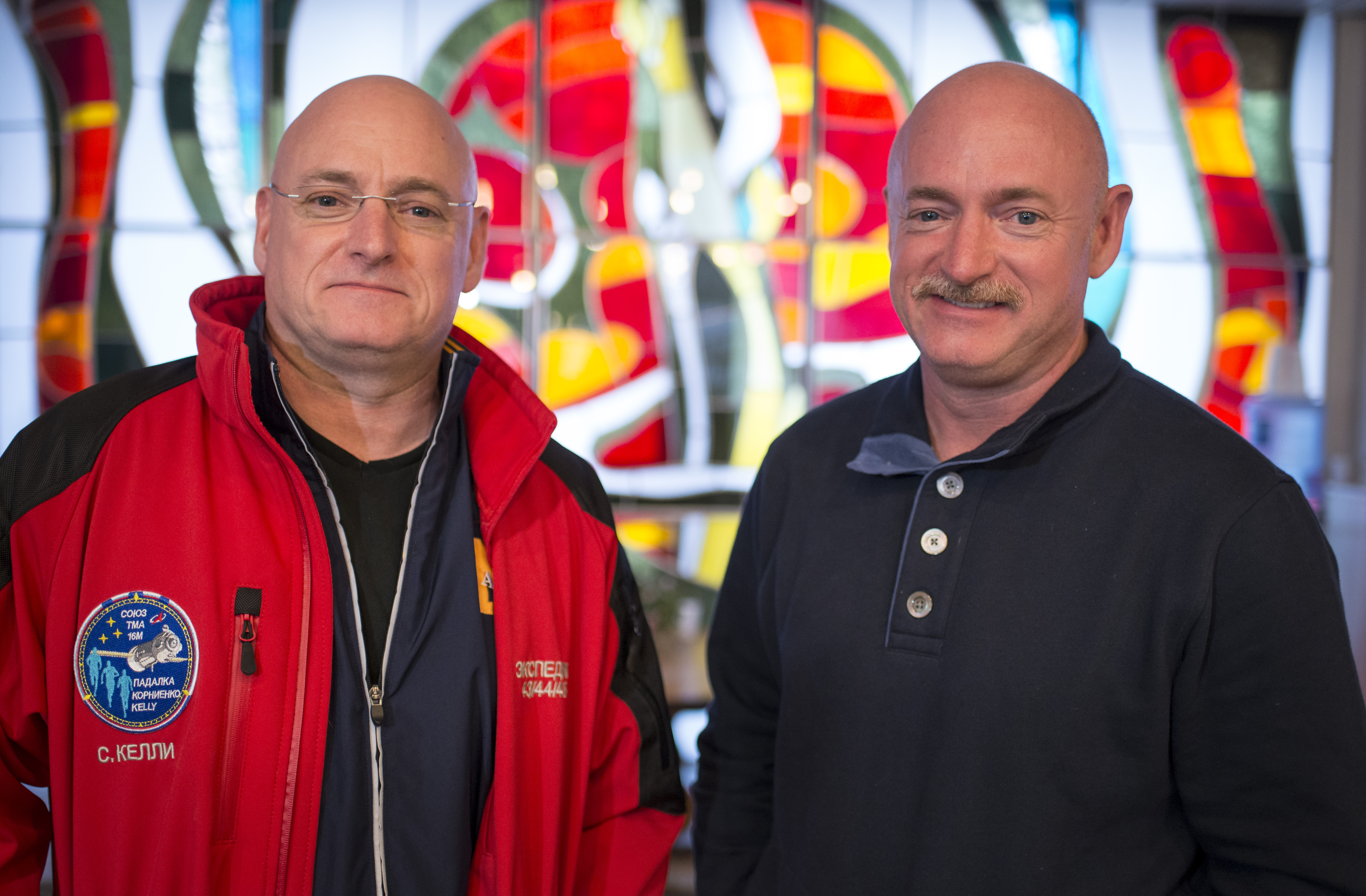 BAIKONUR, KAZAKHSTAN - MARCH 26: Expedition 43 NASA Astronaut Scott Kelly, left, and his identical twin brother Mark Kelly, pose for a photograph Thursday, March 26, 2015 at the Cosmonaut Hotel in Baikonur, Kazakhstan. (Photo by Bill Ingalls/NASA via Getty Images)