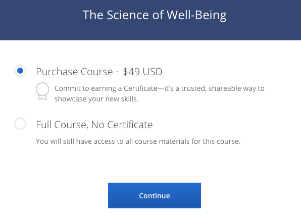 """Screen Shot from Coursera, """"Psychology and the Good Life,"""""""