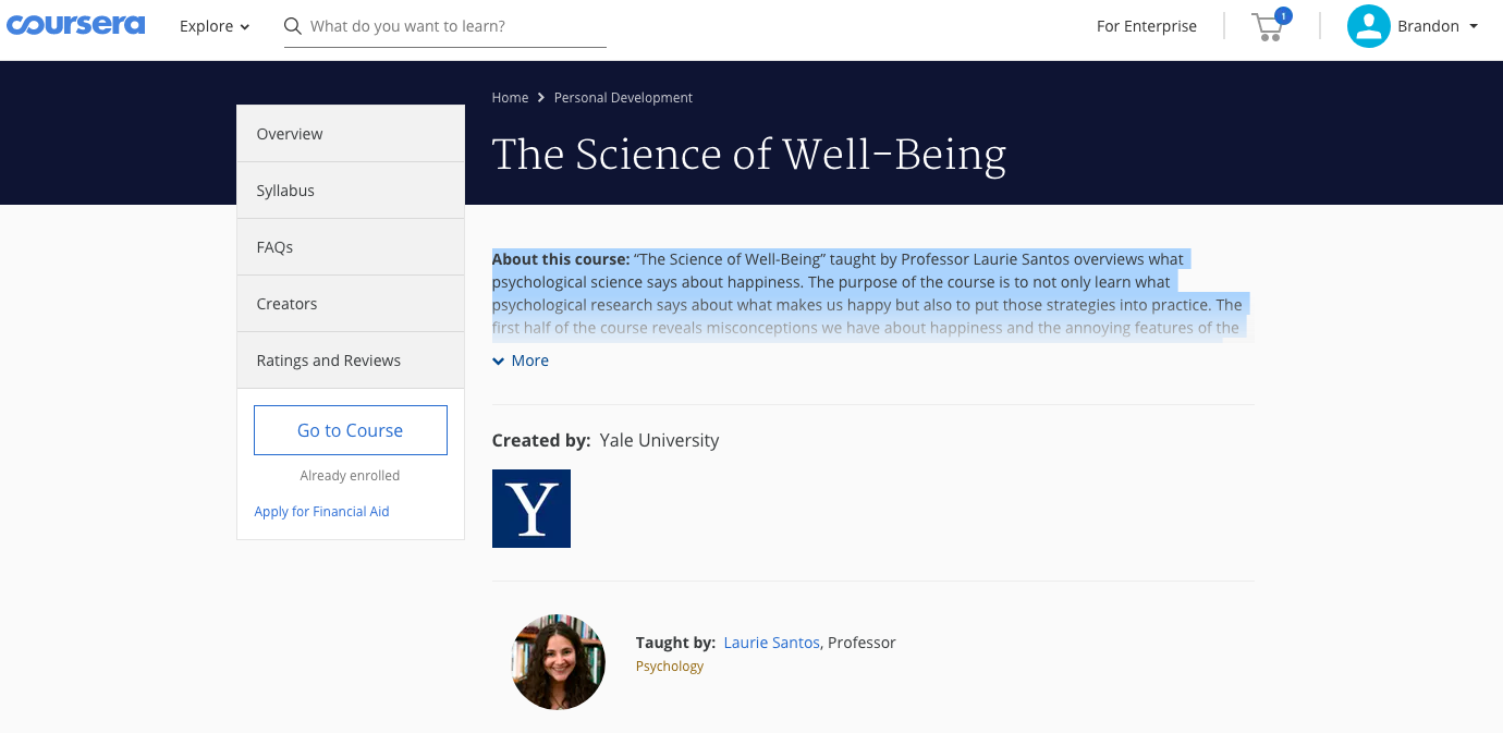 """Intro screenshot from Coursera, """"Psychology and the Good Life"""""""